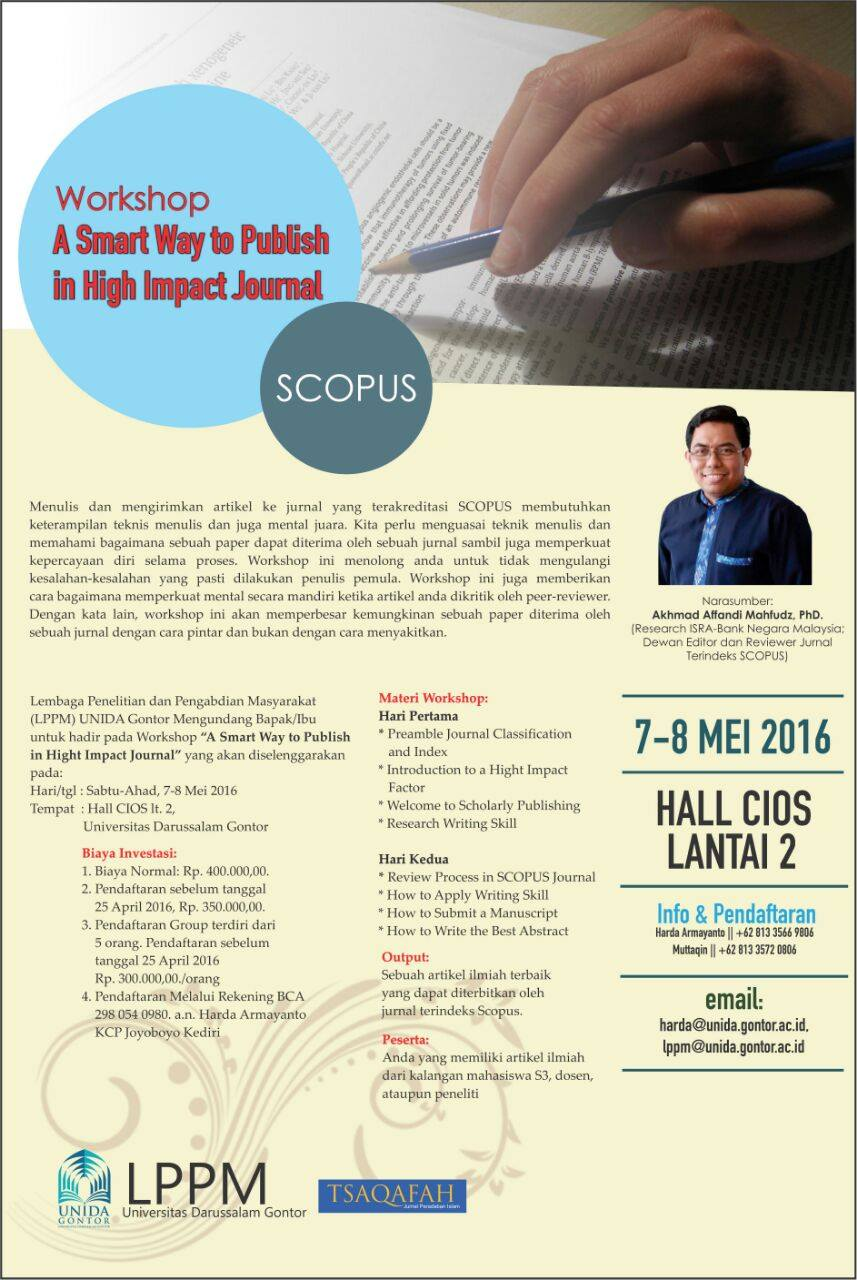 LPPM UNIDA Gontor Akan Menyelenggarakan Workshop Scopus