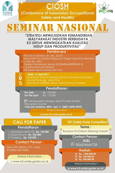 Seminar Nasional – Conference of Indonesian Occupational Safety and Health (CIOSH)