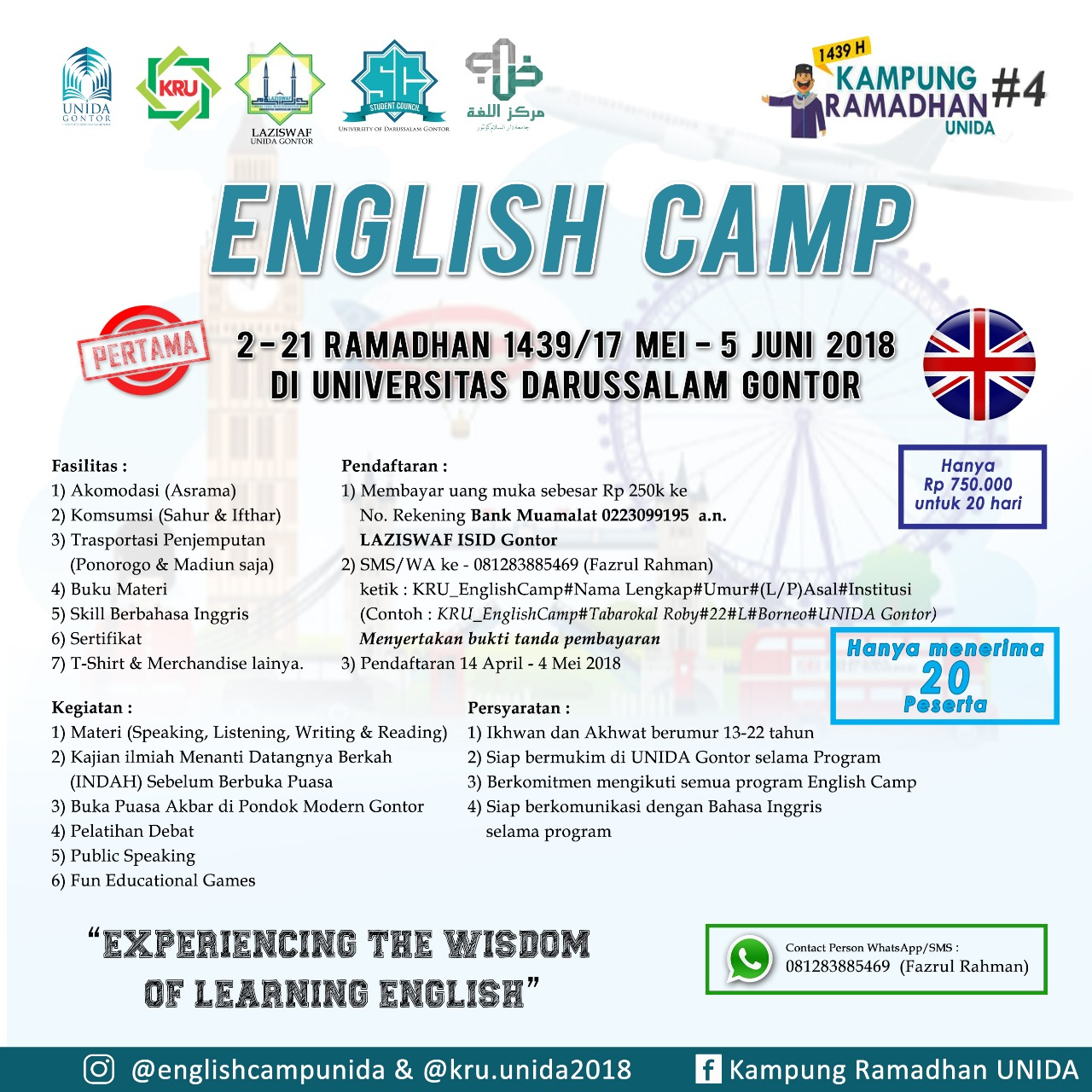 Open for Public: English Camp at UNIDA Gontor in This Ramadhan